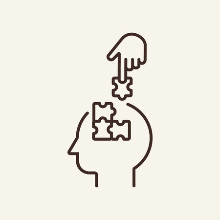 Psychological techniques line icon. Head with puzzle details and finger pointing on white background. Psychology concept. Vector illustration can be used for topics like social, education, career