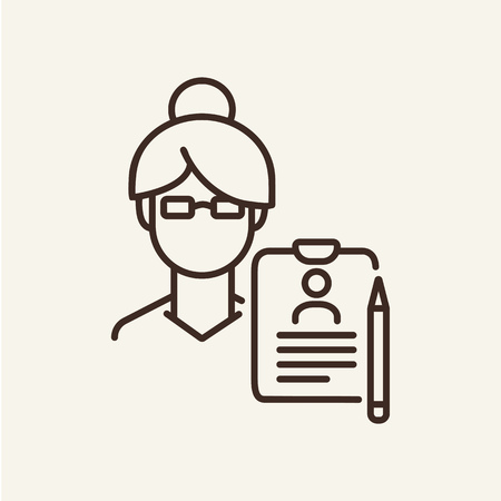 Psychologist consultation line icon. Woman face with paper dossier on white background. Psychology concept. Vector illustration can be used for topics like social, education, career