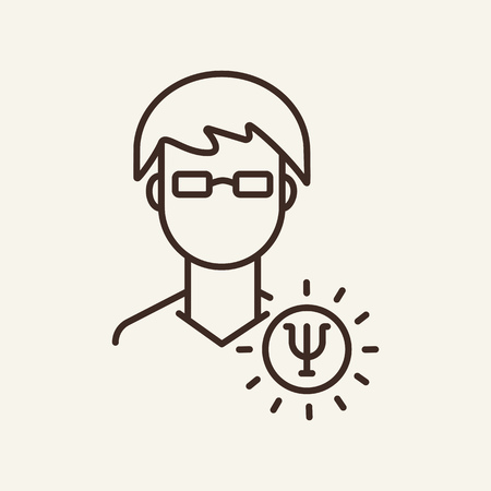 Man employee line icon. Young man in glasses with idea sign on white background. Human resource concept. Vector illustration can be used for topics like social, education, career 일러스트