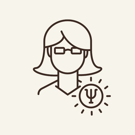 Woman employee line icon. Young woman in glasses with idea sign on white background. Human resource concept. Vector illustration can be used for topics like social, education, career 일러스트
