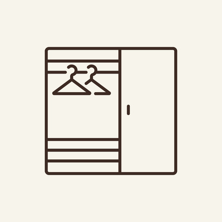 Wardrobe line icon. Dressing chiffonier on white background. Home interior concept. Vector illustration can be used for topics like interior, living room