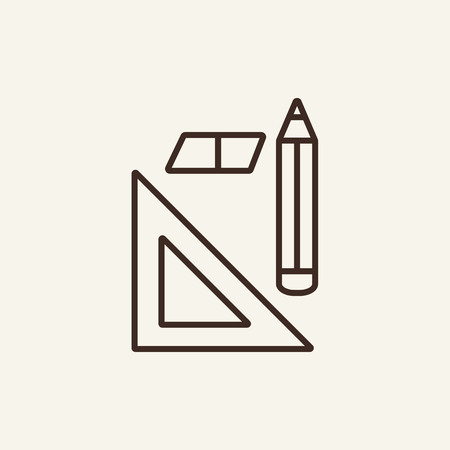 Writing tools line icon. Eraser, triangle and pen on white background. Graphic design concept. Vector illustration can be used for topics like design, math, homework