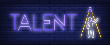 Talent neon sign. Singer with microphone under spotlight on brick wall background. Vector illustration in neon style for banners, billboards, singing competition