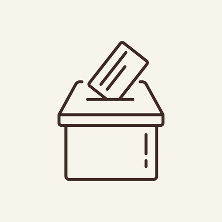 Ballot box line icon. Carton ballot box with paper document on white background. Delivery  concept. Vector illustration can be used for topics like office, document flow, archive, delivery
