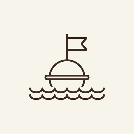 Buoy line icon. Float buoy with water waves on white background. Maritime transport. Vector illustration can be used for topics like sea, transportation, navigation, safety