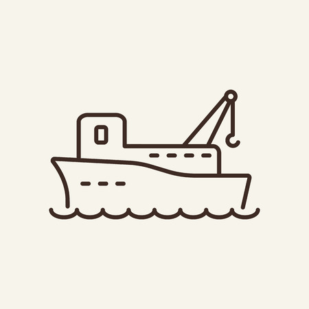 Cargo ship line icon. Big cargo ship on white background. Maritime transport. Vector illustration can be used for topics like sea, transportation, logistics Illustration