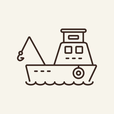 Fishing boat line icon. Small boat for fishing on white background. Maritime transport. Vector illustration can be used for topics like sea, transportation, logistics Illustration