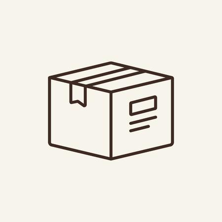 Icône de ligne d'emballage. Boîte fermée en carton sur fond blanc. Concept de livraison. L'illustration vectorielle peut être utilisée pour des sujets tels que le bureau, le flux de documents, les archives, la livraison