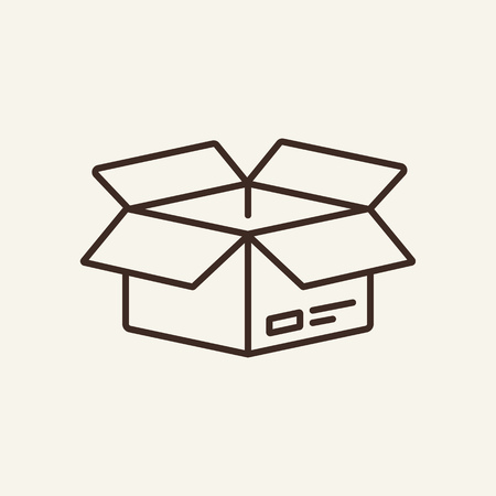 Square box line icon. Opened paper box on white background. Delivery concept. Vector illustration can be used for topics like office, document flow, archive, delivery
