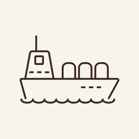 Vessel line icon. Big ship on white background. Maritime transport. Vector illustration can be used for topics like sea, transportation, logistics