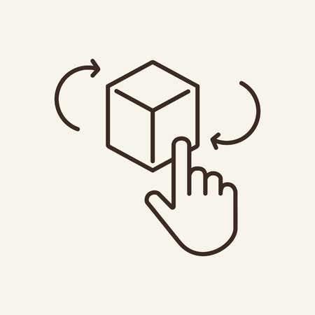 Augmented reality line icon. Human hand and cube on white background. Mobile app concept. Vector illustration can be used for topics like technology, modern world, gadget