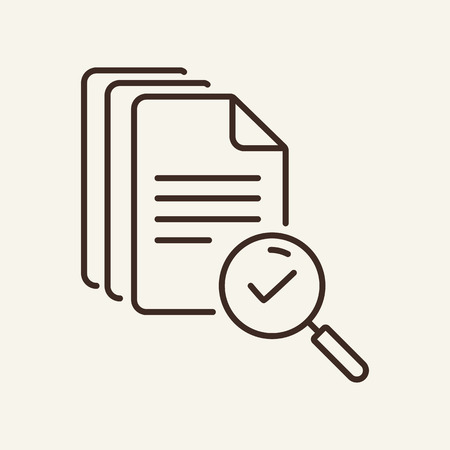 File search line icon. Magnifier glass, loupe, document, tick. Search concept. Can be used for topics like text, agreement, paperwork, expertise Illustration