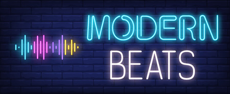 Modern beats neon text with sound waves. Music, party and disco design. Night bright neon sign, colorful billboard, light banner. Vector illustration in neon style.