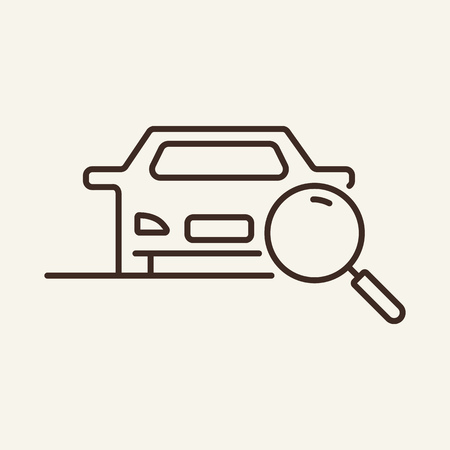 Looking for car line icon. Magnifier glass, loupe, vehicle. Search concept. Can be used for topics like car theft, technical inspection, diagnostics Иллюстрация