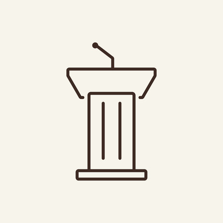 Tribune line icon. Microphone, mic, podium. Mass media concept. Can be used for topics like speech, presenter, president Иллюстрация
