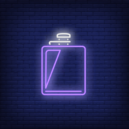 Hip flask neon sign. Alcoholic drink design. Night bright neon sign, colorful billboard, light banner. Vector illustration in neon style.