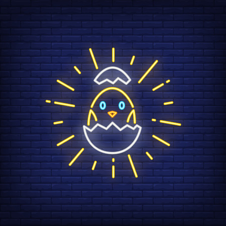 Shining chick hatching from egg neon sign. Poultry design. Night bright neon sign, colorful billboard, light banner. Vector illustration in neon style.
