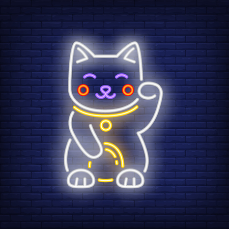 Maneki Neko cat neon sign. Japanese mascot of luck design. Night bright neon sign, colorful billboard, light banner. Vector illustration in neon style. Illustration