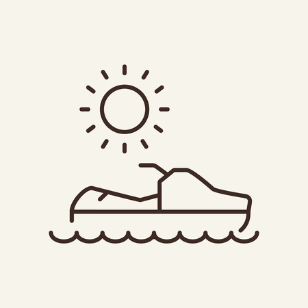 Jet ski line icon. Summer, motorboat, vacation. Resort concept. Can be used for topics like resort, competition, sport Иллюстрация