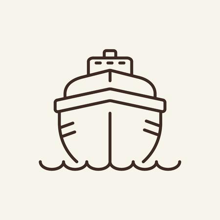 Icona della linea di yacht. Vacanza, estate, barca. Concetto di svago. Può essere utilizzato per argomenti come resort, crociere, attività