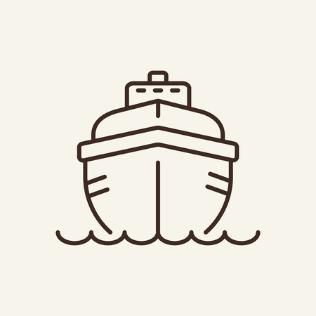 Yacht line icon. Vacation, summer, boat. Leisure concept. Can be used for topics like resort, cruising, activity