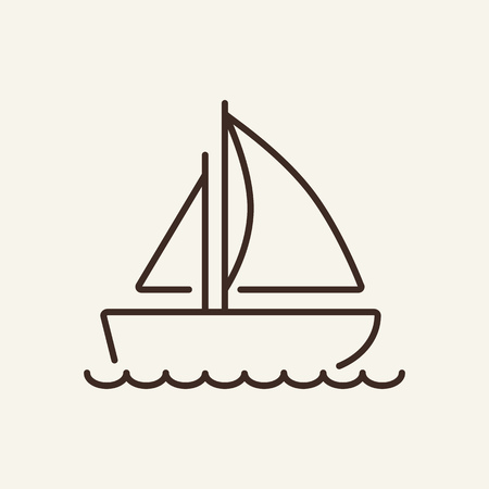 Sailboat line icon., Yacht, travel, luxury. Maritime concept. Can be used for topics like leisure, voyage, cruise Illustration