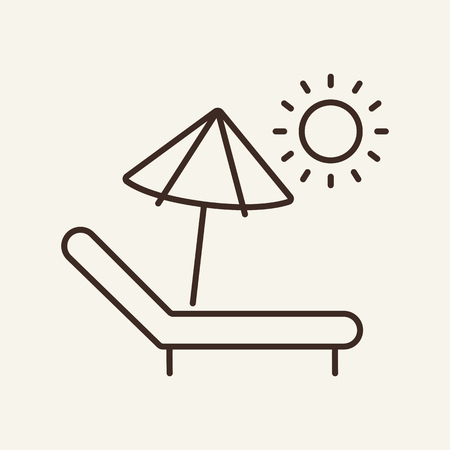Sun lounger line icon. Recreation, comfort, idyllic. Vacation concept. Can be used for topics like hotel, relaxation, tourism