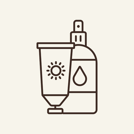 Sunscreens line icon. Spf, skincare, vacation. Lotion concept. Can be used for topics like travel, sea, cosmetic
