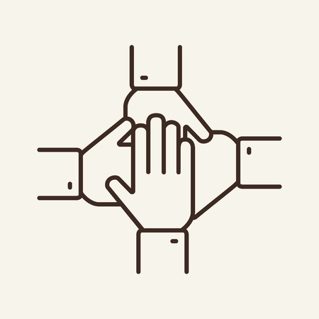 Support line icon. Hands, unity, teamwork. Cooperation concept. Can be used for topics like partnership, friendship, collaboration