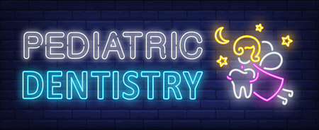 Pediatric dentistry neon text, fairy flying and carrying tooth. Stomatology and dental clinic design. Night bright neon sign, colorful billboard, light banner. Vector illustration in neon style.