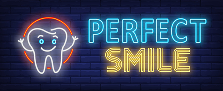 Perfect smile neon text with happy tooth cartoon character. Stomatology and dental clinic design. Night bright neon sign, colorful billboard, light banner. Vector illustration in neon style.