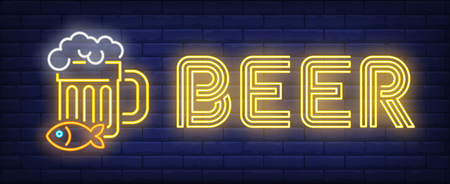 Beer neon sign. Beer mug with snack. Bar, pub, shop. Night bright advertisement. Vector illustration in neon style for drinks, service, alcohol