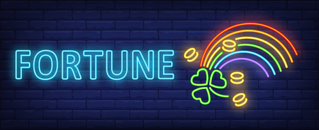Fortune neon sign. Rainbow, shamrock and coins. Patricks Day, celebration, congratulation. Night bright advertisement. Vector illustration in neon style for holiday, celebration, greeting card