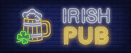 Irish pub neon sign. Beer mug in shape of barrel and shamrock. Bar, Patricks day, Oktoberfest. Night bright advertisement. Vector illustration in neon style for drinks, service, traditional culture