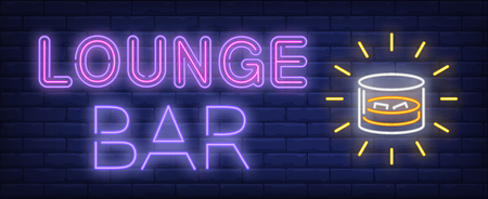 Lounge bar neon sign. Glass with whisky and ice. Nightlife, nightclub, pub. Night bright advertisement. Vector illustration in neon style for drinks, service, alcohol 向量圖像