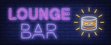 Loungebar neonreclame. Glas met whisky en ijs. Nachtleven, nachtclub, pub. Nacht heldere advertentie. Vectorillustratie in neonstijl voor drankjes, service, alcohol
