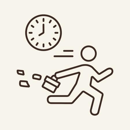 Icono de línea de día de trabajo. Empleado corriendo más allá del reloj. Concepto de negocio. Se puede utilizar para temas como gestión del tiempo, rutina diaria, retrasos Ilustración de vector