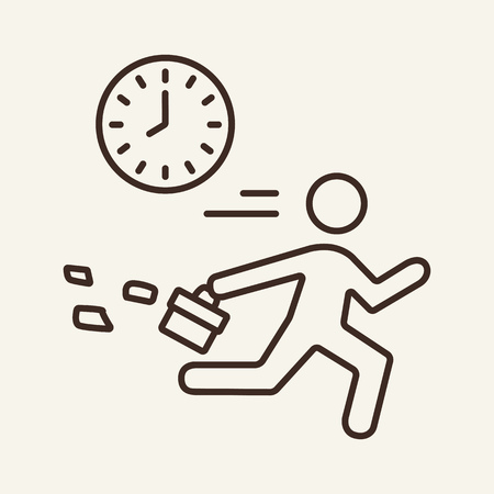 Work day line icon. Employee running past clock. Business concept. Can be used for topics like time management, daily routine, time late Vector Illustration