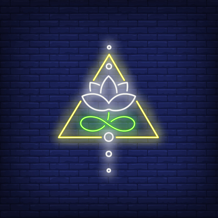 Lotus flower in triangle neon sign. Sacred symbol concept design. Night bright neon sign, colorful billboard, light banner. Vector illustration in neon style. Illustration