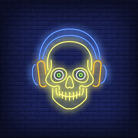 Skull wearing headphones neon sign. Music, tattoo or logo design. Night bright neon sign, colorful billboard, light banner. Vector illustration in neon style.