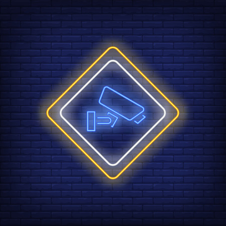 Video surveillance neon sign. Signboard with camera on brick wall background. Vector illustration in neon style for billboards, posters, signage Illustration