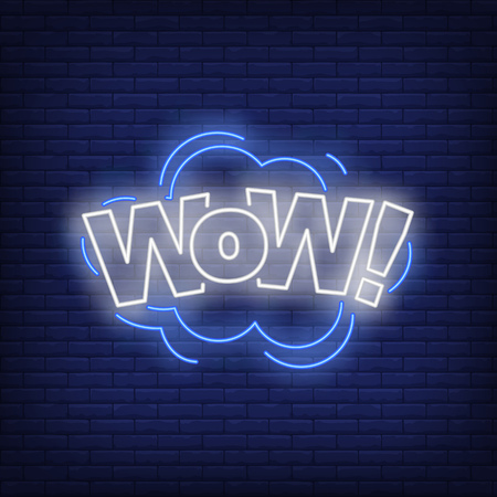 WOW lettering neon sign. Word in cloud on brick wall background. Vector illustration in neon style for billboards, banners, sale flyers, good news