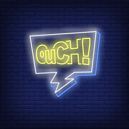OUCH lettering neon sign. Word in speech bubble on brick wall background. Vector illustration in neon style for billboards, posters, comics