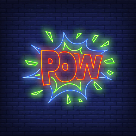POW lettering neon sign. Word in speech bubble on brick wall background. Vector illustration in neon style for billboards, banners, surprise