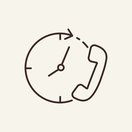 Call time line icon. Hand-set and time graphic. Time concept. Vector illustration can be used for topics like time management, support sevice, work Illusztráció