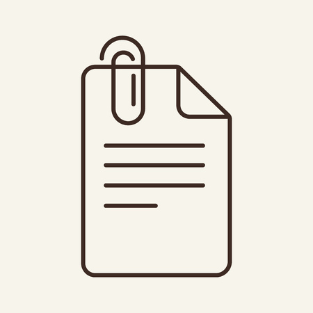 Paper clip line icon. Documents with clip line icon. Documents concept. Vector illustration can be used for topics like office, documentation, work plan