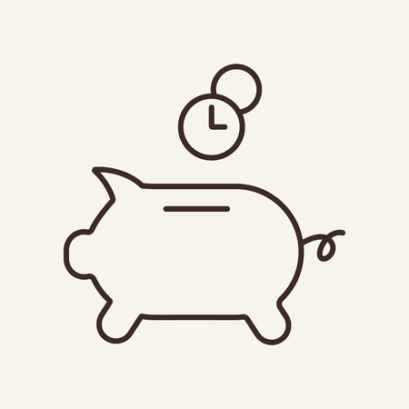 Piggy bank and time line icon. Piggy bank with coins and clock. Time amd investment concept. Vector illustration can be used for topics like time management, finance, investment