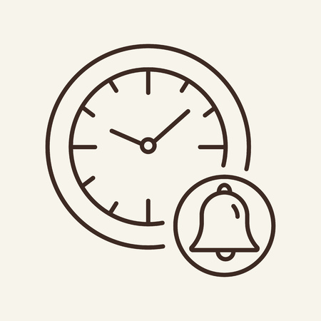 Wall clock and bell line icon. School wall clock and ringing bell. Time concept. Vector illustration can be used for topics like time management, clock, school