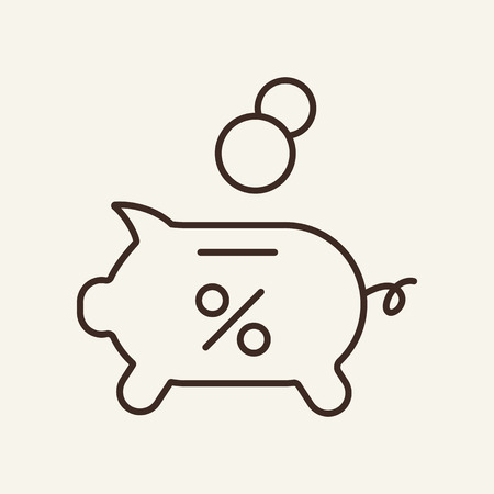 Accumulation line icon. Piggy bank, cash, percentage. Finance concept. Vector illustration can be used for topics like money, deposit, saving, economy