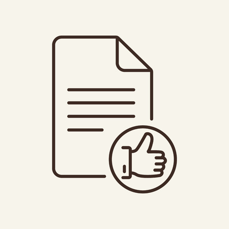 Approved line icon. Document and thumbs up icon. Documents concept. Vector illustration can be used for topics like education, marketing, business Vectores